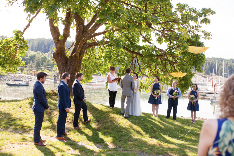 bride and groom at heriot bay inn ceremony
