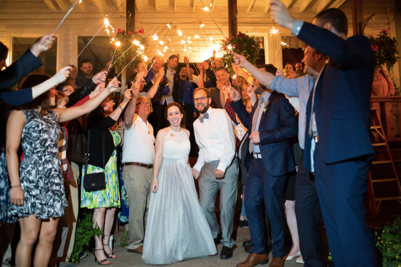 bride and groom departure with sparklers