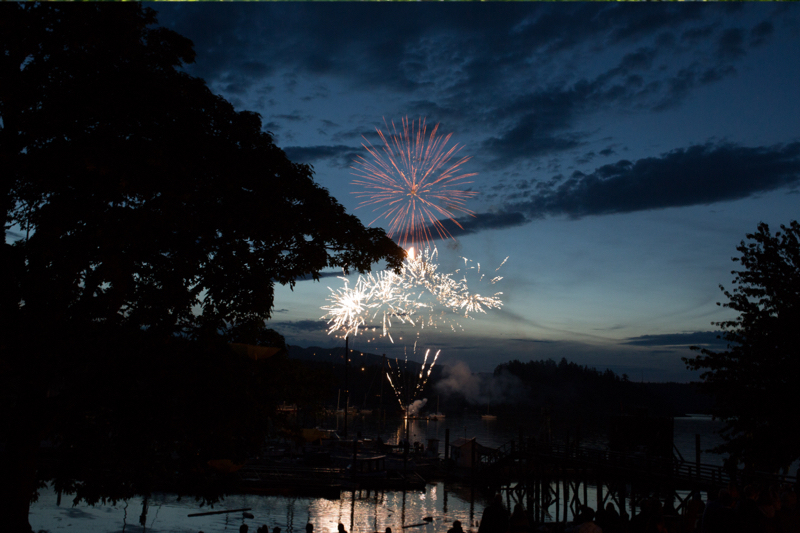 fireworks at Heriot Bay Inn on Quadra Island