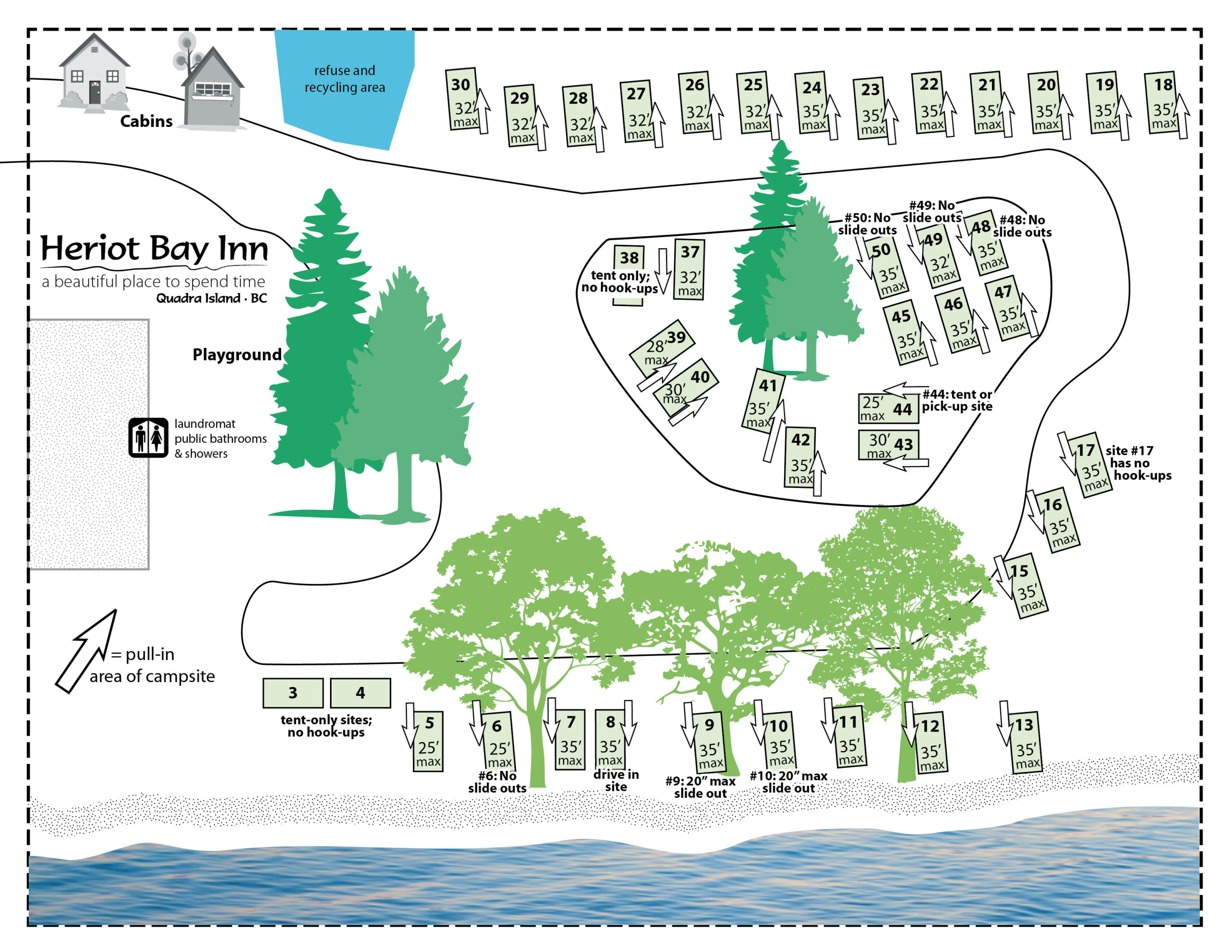 heriot bay inn oceanfront campground map